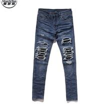 Человек Си Тун Джастин Бибер Черный Дизайнер Иконок Мужчины Рваные Джинсы Синий/Черный Разрушенные Тонкий Denim Повседневная Тощий Ruched джинсы 30-36