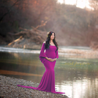 Women Maxi Bohemia Mermaid Skirt Maternity Photography Props Gown Pregnancy Lace Dresses For Pregnant Photo Shoot