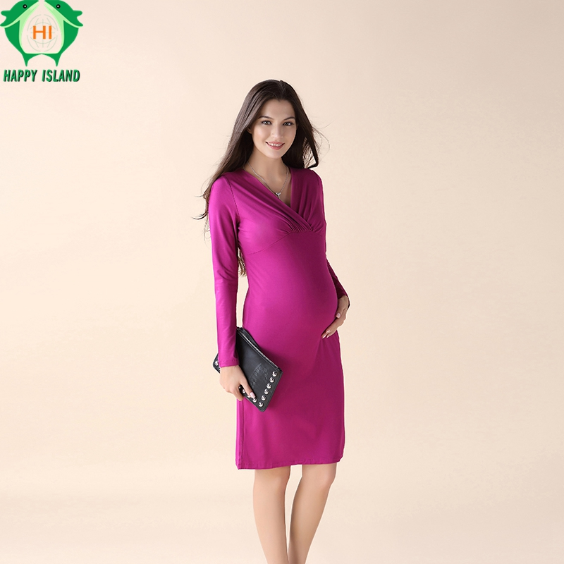 HAPPY ISLAND Maternity Clothes Long Sleeve V-Neck Maternity Dresses Maternity Clothes for Pregnant Women Clothing For New Year y057 femme enceinte jeans pant m 4xl pants maternity women jeans maternity pants uniforms maternity maternity pregnant clothing