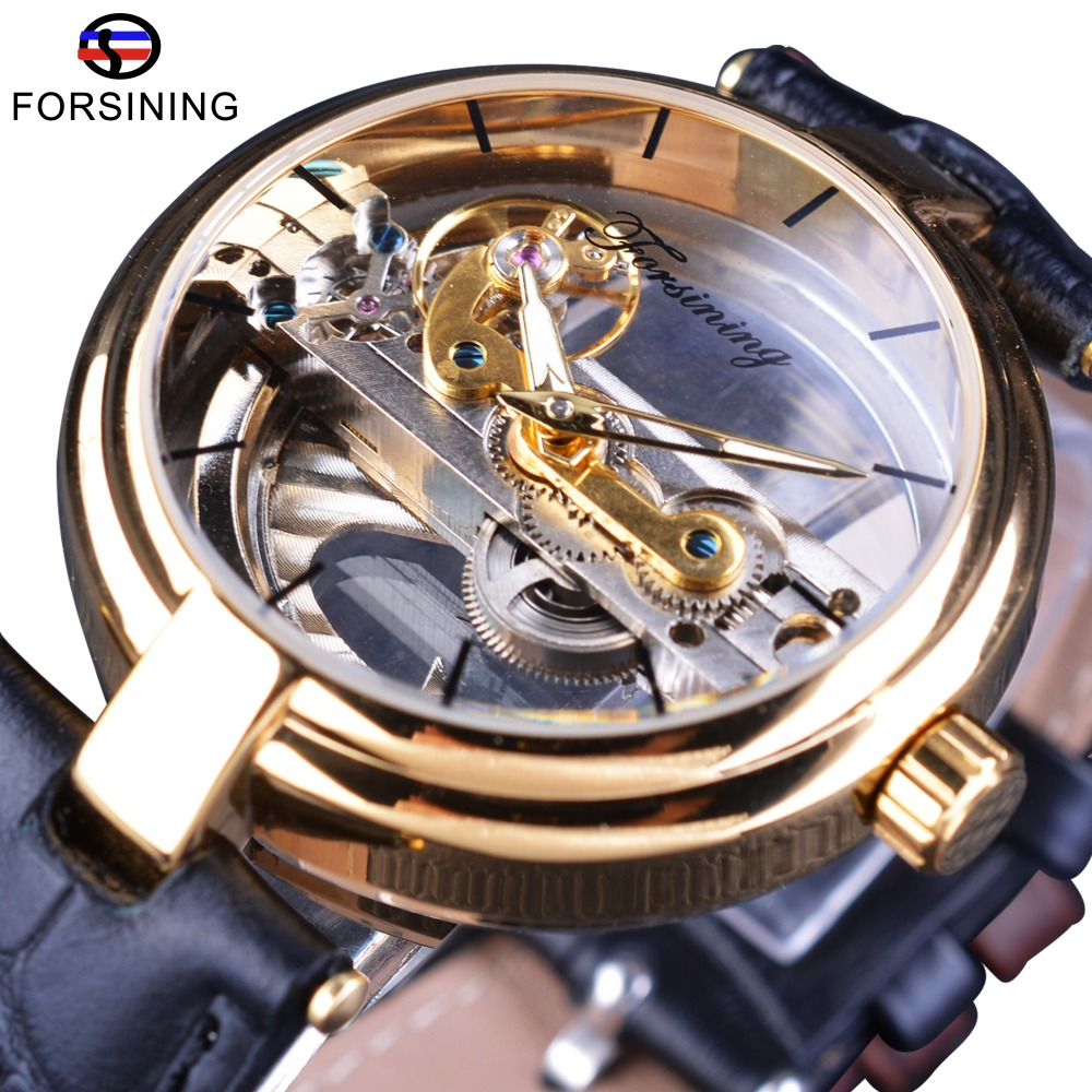 Forsining 2017 Design Golden Bezel Double Side Transparent Skeleton Leather Belt Luminous Men Automatic Watches Top Brand Luxury forsining brown leather belt golden bezel transparent case steampunk double sided hollow men automatic watches top brand luxury