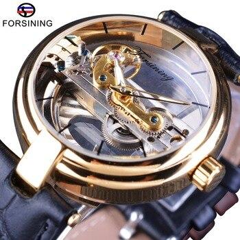 Forsining 2017 Design Goldene Lünette Doppel Seite Transparent Skeleton Leder Gürtel Luminous Männer Automatische Uhren Top Marke Luxus
