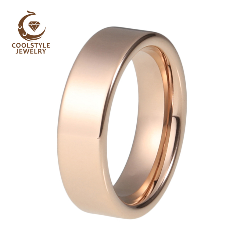 6mm Plain Rose Gold Color Plated High Polished Comfort Fit Flat Tungsten Ring Wedding Band For Men And Women