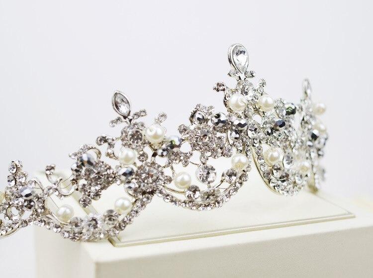 Plata platerd lujo nuevo diseño perla tiara nupcial tocado pelo de la boda  de la moda cfff209cf674