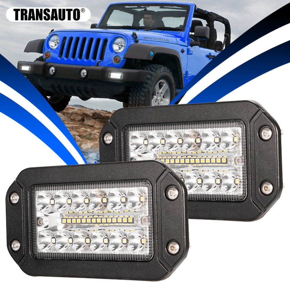 6Inch Flush Mount LED Light Pods, 26W Spot Flood Combo Beam Triple Row Light Bar Led Work Light For Golf Cart Trucks Tractor 12V
