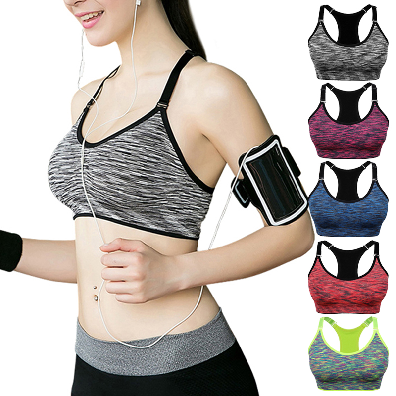 VEQKING hızlı kuru destekli sporcu sütyeni, kadınlar Wirefree ayarlanabilir spor üst spor sütyen, Push Up dikişsiz koşu Yoga sutyen