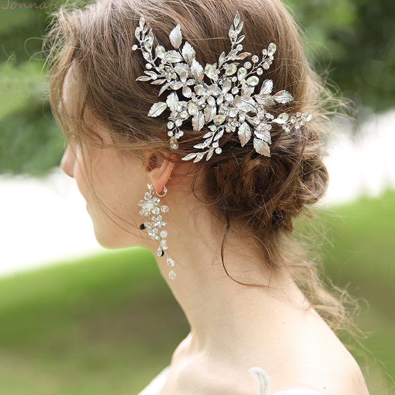 Jonnafe Rhodium Plated Leaf Floral Women Headpiece Handmade Wedding Hair Clip Comb Bridal Hair Ornament Accessories недорого