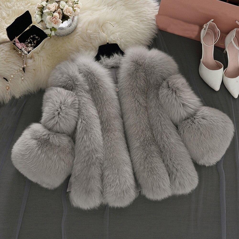 En rose Blanc Hiver Abrigo Blanc Vestes Femme Femmes Couture Rose Chaud Manteau gris Mujer Fourrure Peluche Mode Faux Solide De Gris 1AwzRqnSn