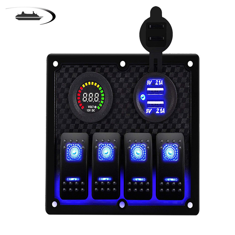 2 3 4  Gang Boat Car Switch Panel Marine Rocker Switch Panel 12 24V Circuit Control Car Dual USB Charger with Blue LED