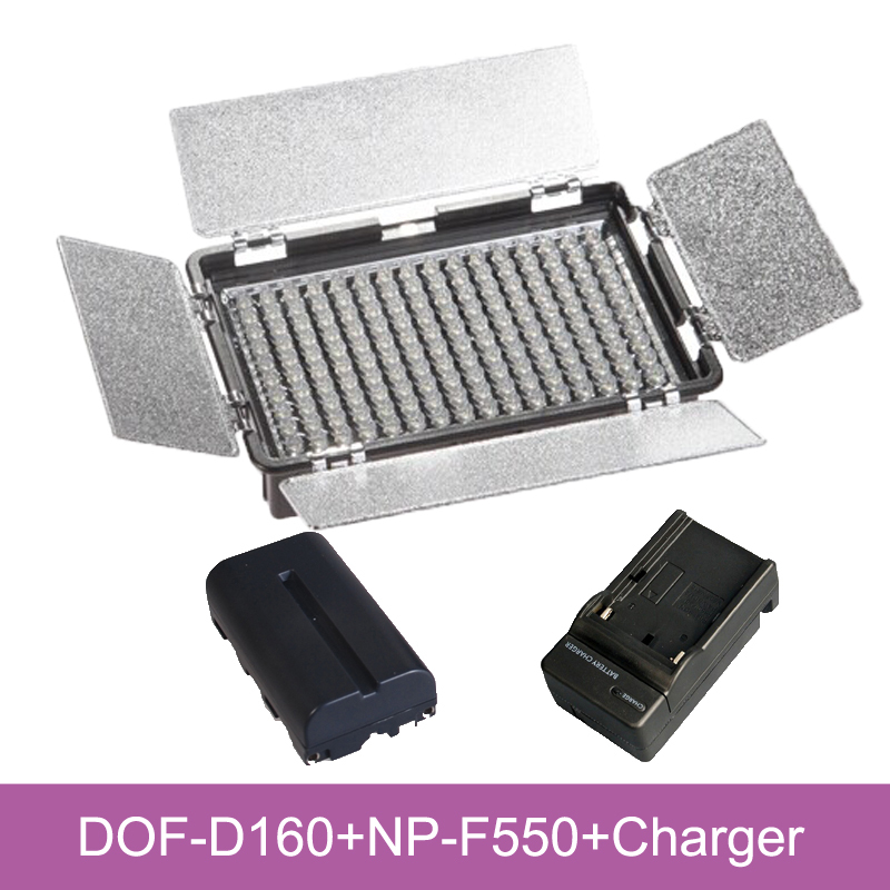DOF 160 LED Camera light Photo Video Light +NP-F 550 battery +Charge for Sony Nikon Canon Camcorder Camera 1400mah camera battery for sony np bg1 np fg1 dsc h3 dsc w70 bc csge bc csgd w30