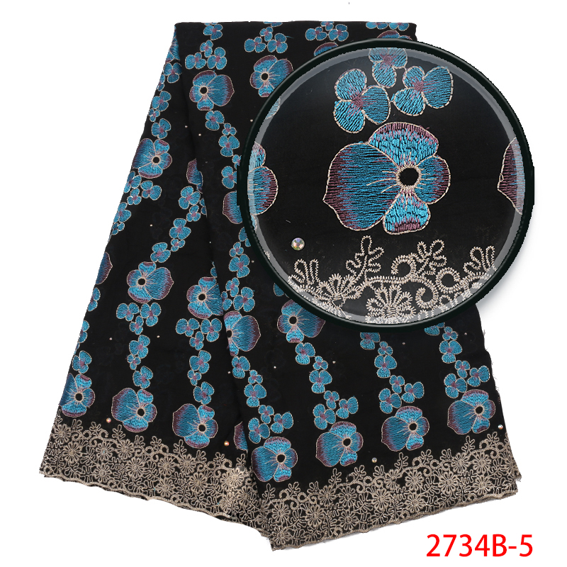 High Quality Swiss Voile Lace In Switzerland ,French  Lace Fabric With Stones, 2019 African Cotton Embroidered Laces KS2734B-5