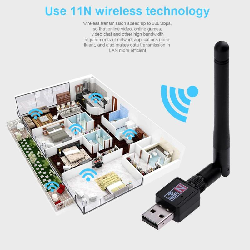 300Mbps Wireless Network Card Mini USB 2.0 WiFi Adapter Antenna PC LAN Wi-Fi Receiver Dongle 802.11 B/g/n For Laptop Computer