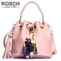 ROSCH Women Tassel Shoulder Bags Famous Brand Drawstring Bucket Bags Female Pink Crossbody Messenger Handbag with Small Pouch