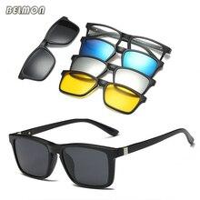 Belmon monture de lunettes hommes femmes avec 4 pièces pince sur lunettes de soleil polarisées lunettes magnétiques mâle femme myopie optique RS479