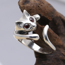 Wholesale S925 Sterling Silver Ring Red Fox retro Thai silver jewelry ring tail ring