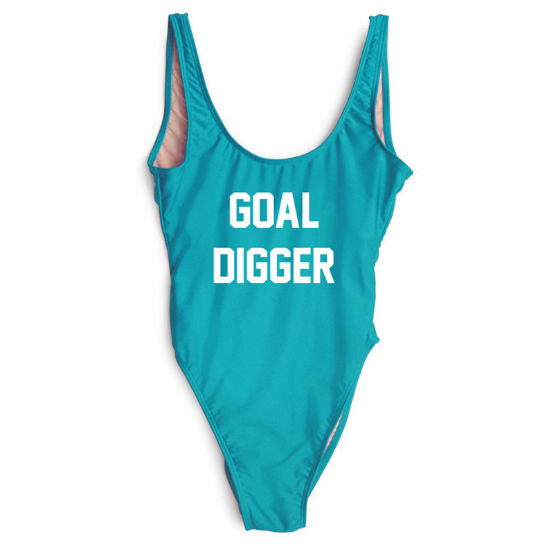 GOAL DIGGER Swimwear Women One Piece Swimsuit Bikini Sheer Nude High Cut Out Sexy Monokini Funny Bathing Suits maillot de bain