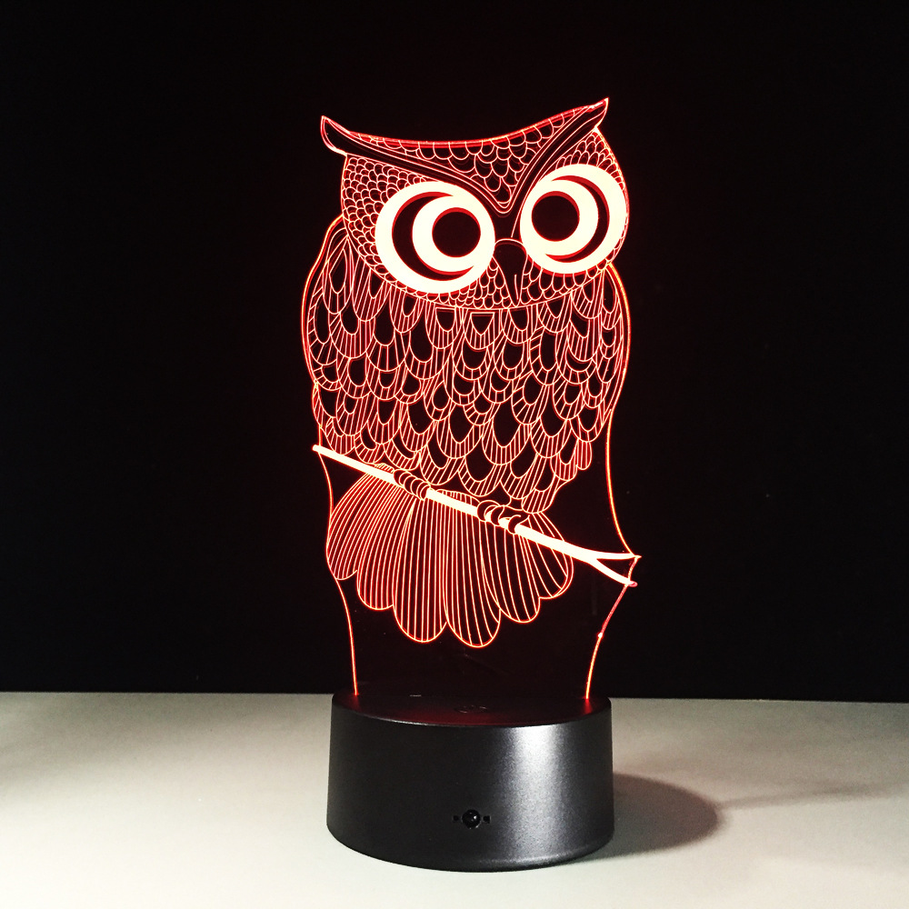 Kawaii Cartoon Owl Light 3D LED Animal Night Light RGB Changeable Lamp Child Kids Baby Soft Lights Bedroom Decoration Lighting kawaii animal lamp 3d led night light lovely cartoon rabbit multicolor change table home child bedroom decor kids birthday gift