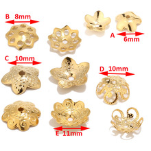 100pcs Gold Color Filigree Flower Bead Caps Connector Charms Metal Stainless Steel End Beads Cap For DIY Jewelry Making Findings