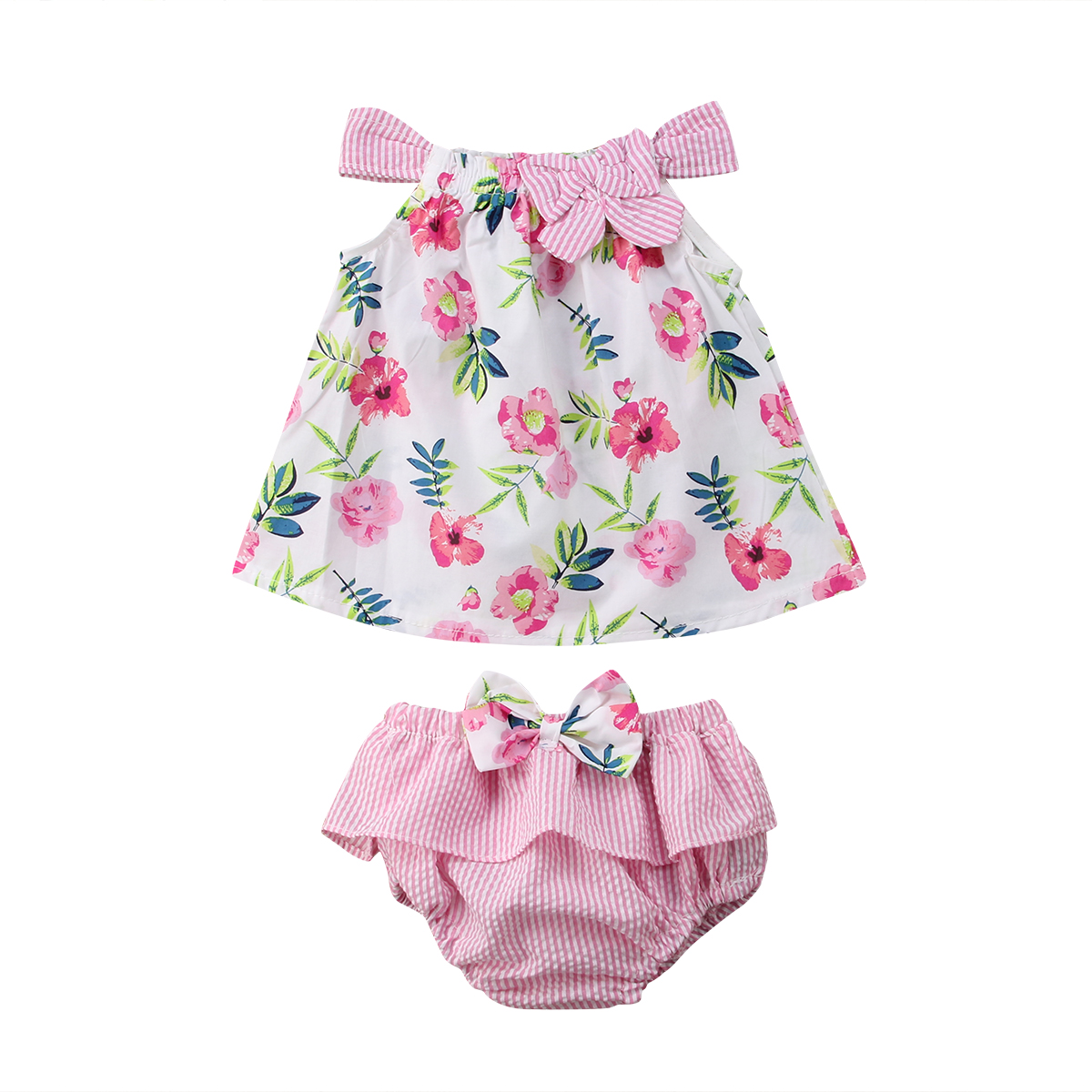 Одежда для малышей Детские милые девушки Лето синий/розовые цветочные топы без рукавов + брюки 2 шт. Костюмы Летний костюм для детей 0–3 лет