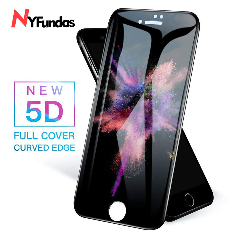 NYFundas For iPhone 7 Tempered Glass 5D Full Cover Screen Protector Film For iPhone XS X S 8 Plus 6 6S verre tremp Protection 3D (1)