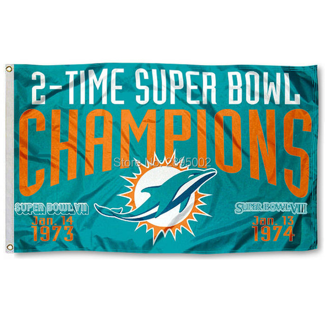 Miami Dolphins 2 Time Super Bowl Champions Sports Banner Basketball Flag 3 X 5