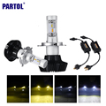 Partol H4/9003/HB2 Hi-Lo Beam Car LED Headlight Bulbs 50W 8000lm 3000K/6500K CREE Chips Front Headlamp Fog Light 12V 24V