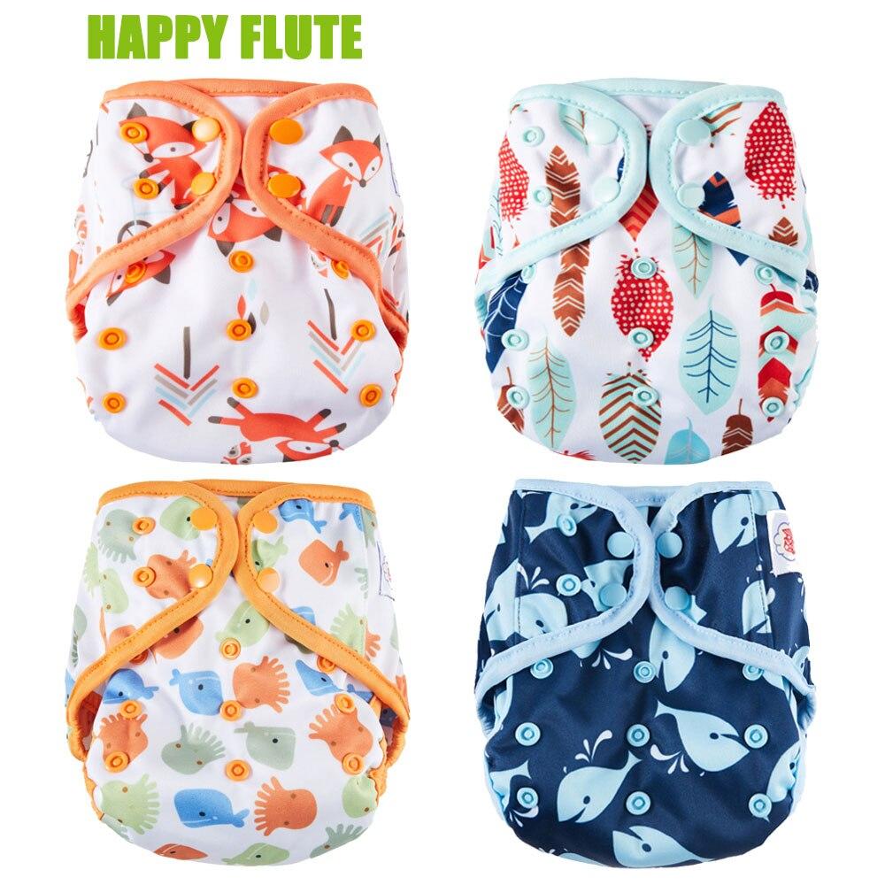 Glücklich Flöte Windel Abdeckung, Eine Größe Tuch Windel, Wasserdicht Atmungsaktiv PUL Mehrweg Windel Abdeckungen für Baby, fit 3-15kg Baby