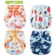 Счастливый Флейта пеленки крышка, один размер ткань пеленки, водонепроницаемый дышащий пул Многоразовые пеленки Чехлы для ребенка, подходит 3-15 кг ребенка