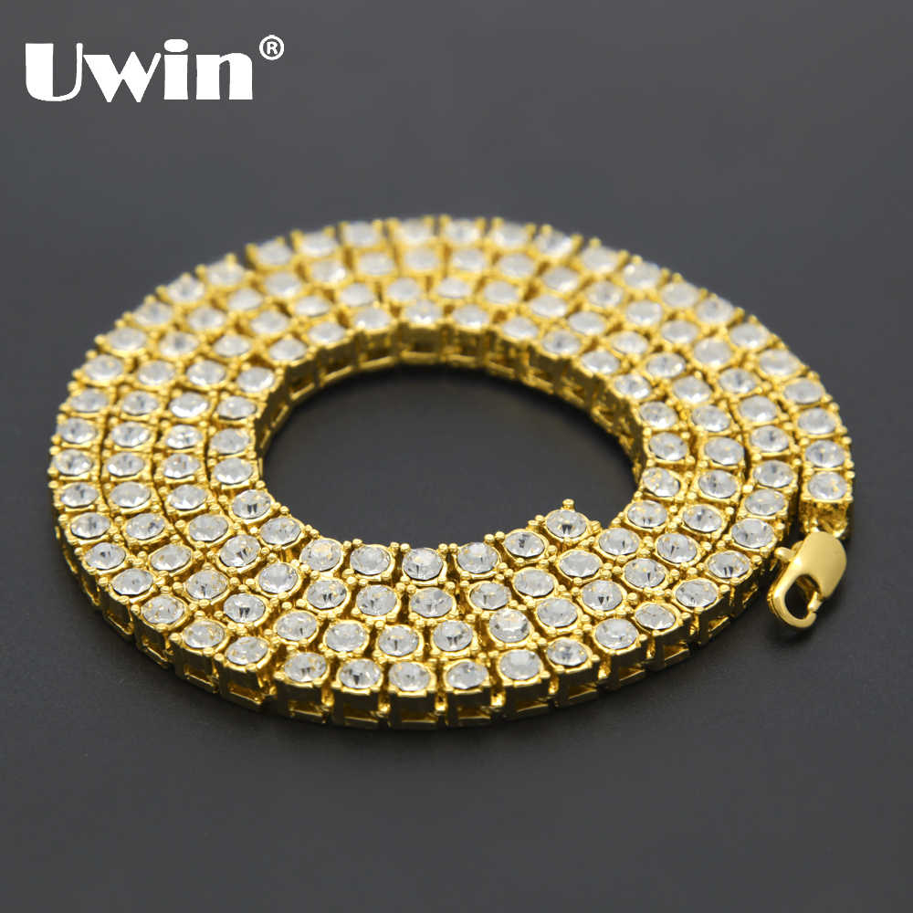 Uwin Men's Hip Hop Bling Bling Iced Out Tennis Chains 1 Row Necklaces Luxury Brand Silver/Gold Color Men Chain Fashion Jewelry