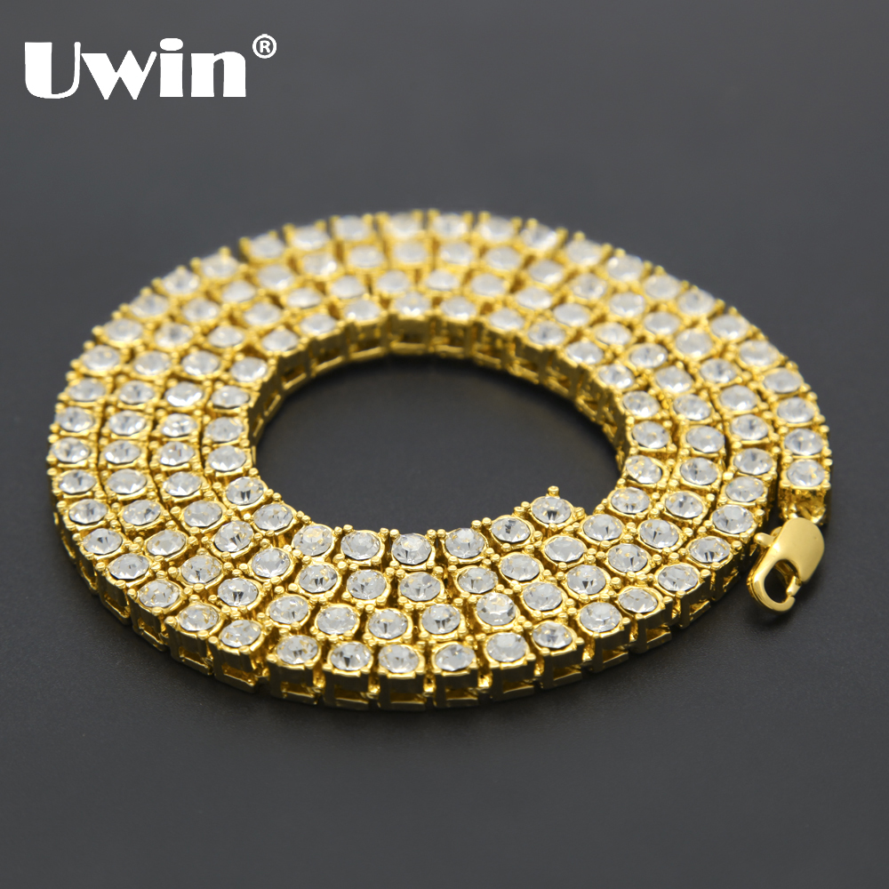 Uwin ерлер хип-хоптары Bling Bling Iced Tennis Chain 1 Row Ожерелье Luxury Brand Silver / Gold Colour Men's Chain Fashion Jewelry