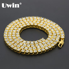 Uwin Men's Hip Hop Bling Bling Iced Out Tennis Chains 1 Row Necklaces Luxury Brand Silver/Gold Color Men Chain Fashion Jewelry(China)