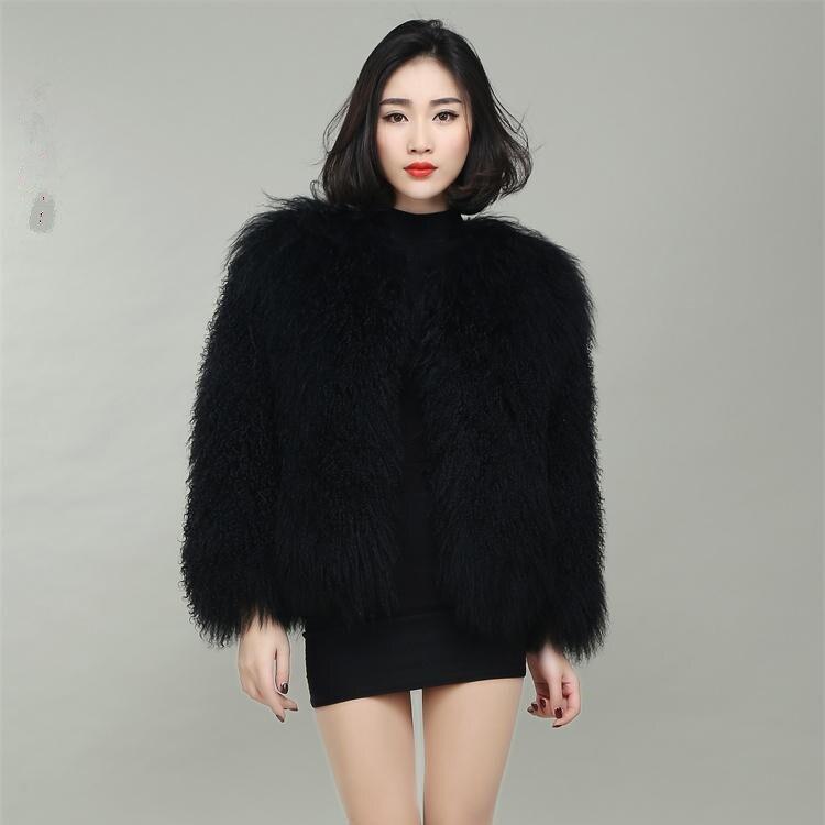 Nový styl dámské oděvy z vlněné vlny Mongolsko Ovčí kožešinový kabát plážový vlněný kabát
