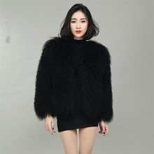 Nuovo stile femminile vestiti Mongolia Pelliccia Delle Pecore pelliccia di lana cappotto di lana spiaggia cappotto
