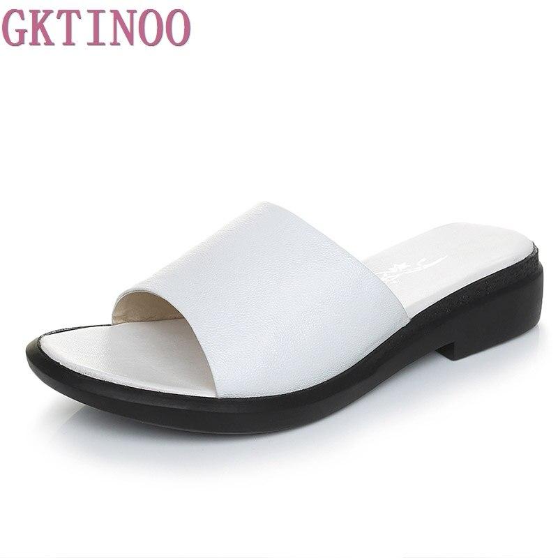 GKTINOO Лето Женские тапочки 2018 сладкий обувь на плоской подошве черный, белый цвет из натуральной кожи женские шлёпанцы плюс размеры 35–43