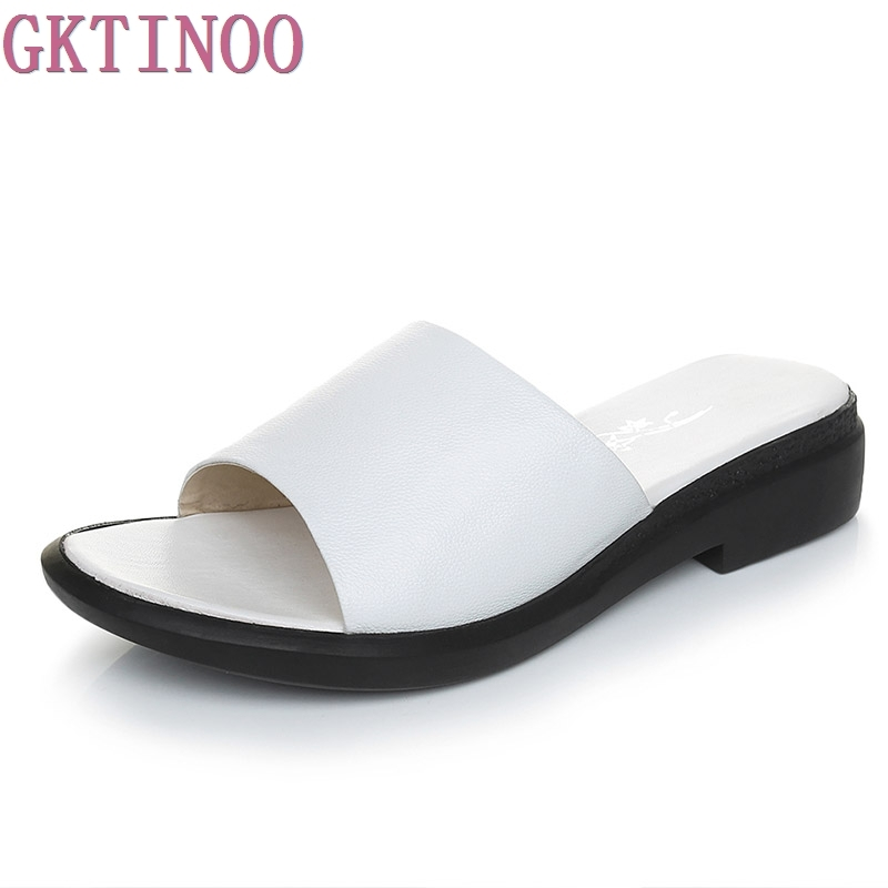 GKTINOO Summer Women's Slippers 2018 Sweet Flat Heel Shoes Black White Genuine Leather Woman Slides Plus Size 35-43 gktinoo genuine leather sandals women flat heel sandals fashion summer shoes woman sandals summer plus size 35 43 free shipping
