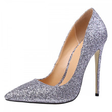 TheMOST Women High heels Lady Pumps Glitter Pointed Toe Thin heels Sexy Wedding Shoes For Woman 12CM High-heeled Fashion Sequins