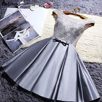 Sweet Women Dinner Evening Party Dress O Neck Sleeveless Ribbon Bow Lace Satin Fabric Dresses For Bridesmaid Wedding