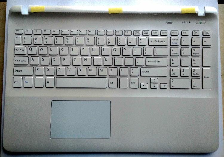 New for sony SVF15 SVF1541 SVF15E FIT15 SVF152 SVF153 laptop us keyboard white with frame Palmrest Touchpad Cover non-backlit стоимость