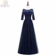 Marcher à côté de vous bleu marine robes de soirée Sheer Neck Long Party robe Bling paillettes tissu robe de bal robe de festa longo