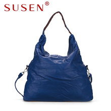 SUSEN 3030 multi function hobos handbags luxury shoulder bags designer for women fashion red high quality washed PU leather