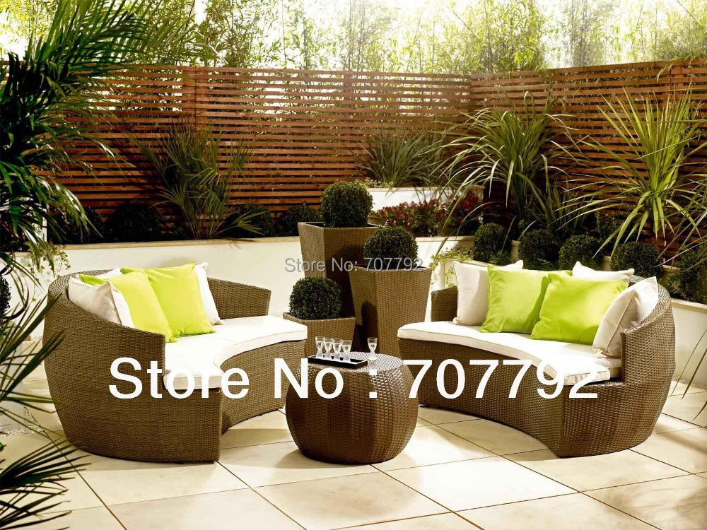 2017 Exclusive Curve 4 Seater Outdoor Wicker Patio Furniture Sofa Set(