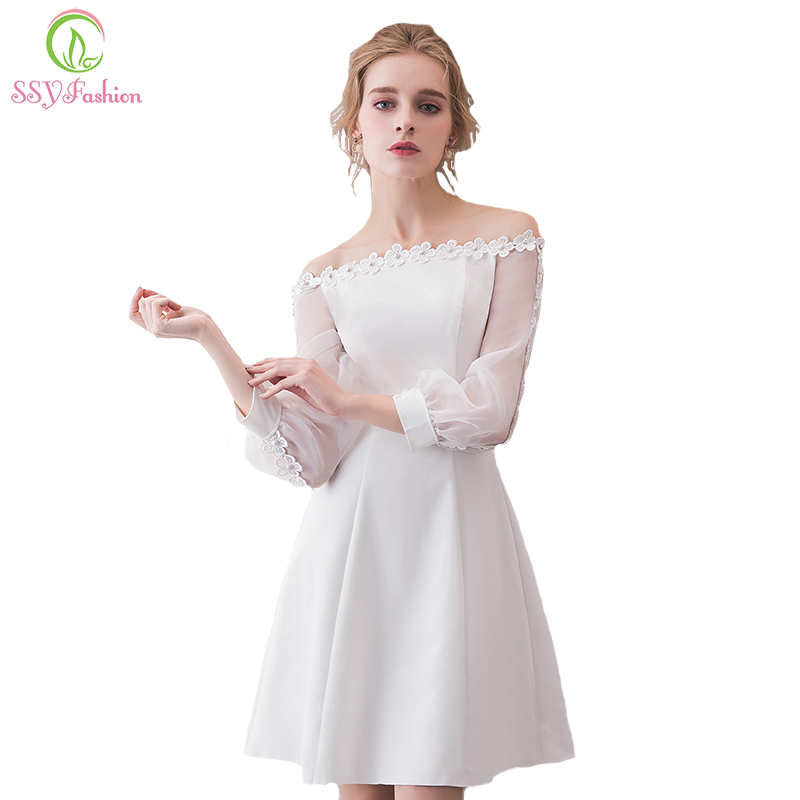 SSYFashion New Short Simple   Cocktail     Dresses   White Boat Neck Long Sleeved Appliques Elegant Formal Party GownRobe De Soiree