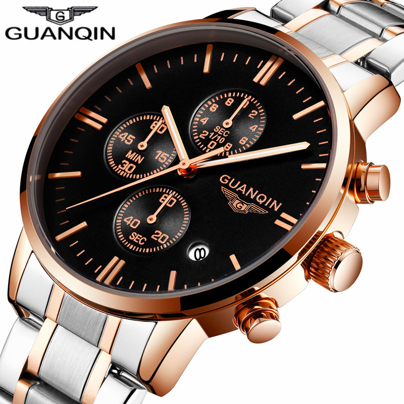 relogio masculino GUANQIN Mens Watches Top Brand Luxury Chronograph Luminous Hands Clock Men Business Full Steel Quartz Watch mens watches top brand luxury guanqin watch men automatic self wind luminous clock sport full steel wristwatch relogio masculino