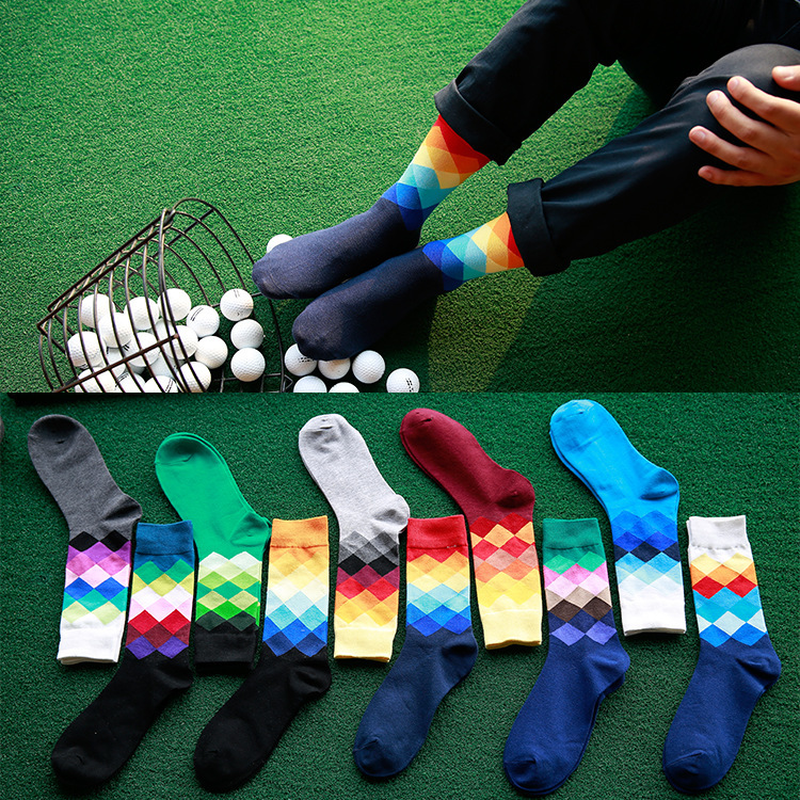 New colorful gradient plaid cotton jacquard tube socks Argyle Street mens tight business socks cheap dress Chaussettes sokken