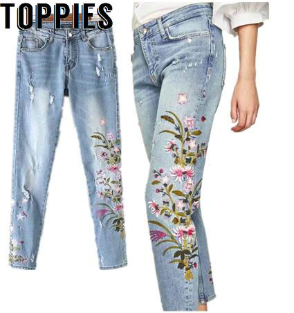 Women 2017 women floral embroidery jeans female light blue denim women 2017 women floral embroidery jeans female light blue denim trousers women pink flower embroidered jeans ccuart Images