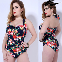 2017 New Swimwear women one piece swimsuit plus size swimming suit Russian large szie beachwear  недорго, оригинальная цена