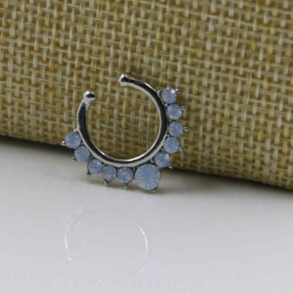 Novedoso falsas anillos de cristal de oro falso comercio nariz clavos de perforación adorno de joyería