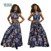 Bazin Riche African Scarf Tops and Skirt Sets for Women African Print Dashiki Traditional 2 Piece Skirt Sets Clothing WY2673