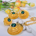 Shamty Ethiopian jewelry Bule/Green/Red Stone 24k gold plated African set/Nigeria/Sudan/Eritrea/Kenya/Habesha style Gift A30048