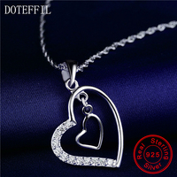 925 Silver Necklace Charm Woman Double Heart Pendant Necklace 100 Sterling Silver 45cm Chain Fashion Brand
