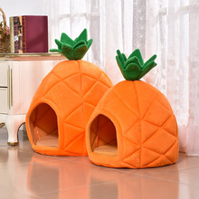 Dropshipping Pineapple Design Pet House Dog Warm Cave Nest Cozy Soft Sleeping Bed for Cat Puppy Cute For